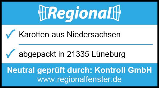 Sie sehen eine Regionalfensterkennzeichnung für Karotten aus Niedersachsen